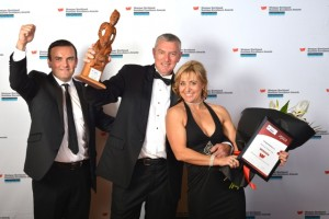 WESTPAC BUSINESS EXCELLENCE SUPREME AWARD winners MARINE NORTH - Ian Hankins sponsor, Paul Dunn, Tania Dunn (web)